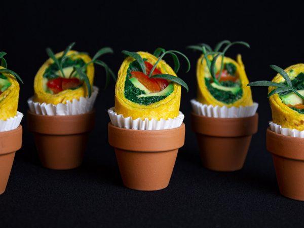 Vega Delicious - Mini wrap met avocado, spinazie en gegrilde paprika hapje
